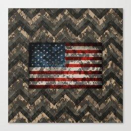 Digital Camo Patriotic Chevrons American Flag Canvas Print