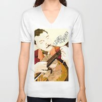 django V-neck T-shirts featuring Django Reinhardt by Daniella Birtley