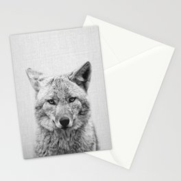 Coyote - Black & White Stationery Cards