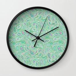 Jade Green Paisley Wall Clock