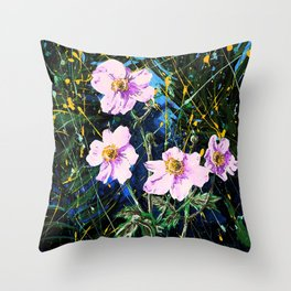 Flowers In My Father's Yard Remixed Throw Pillow