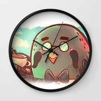animal crossing Wall Clocks featuring Animal Crossing Brewster! by SweetOwls