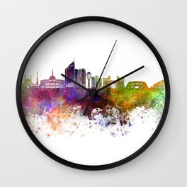 Astana skyline in watercolor background Wall Clock