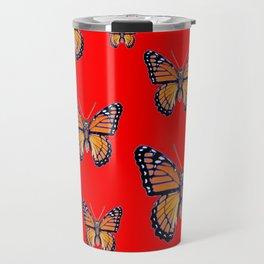 RED ART MONARCH BUTTERFLIES Travel Mug