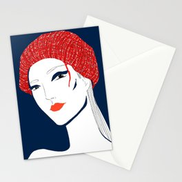 the girl with the hat Stationery Cards