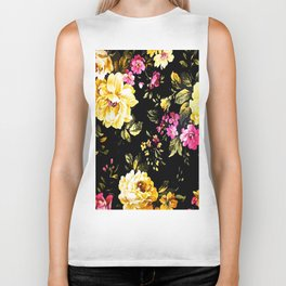 ROSES WHITE AND PINK FLOWERS Biker Tank