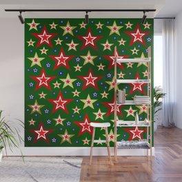 grenn,blue,gold,red stars xmas pattern Wall Mural