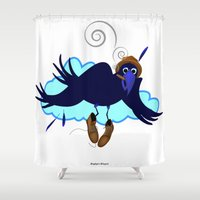 floyd Shower Curtains featuring This is Floyd Birdfinger by Lucky Lusk
