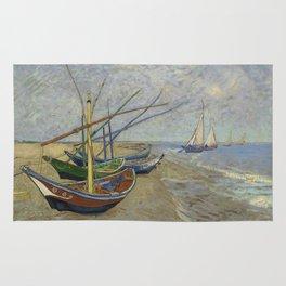 """Vincent Van Gogh """"Fishing boats on the Beach at Les Saintes-Maries-de-la-Mer"""" Rug"""