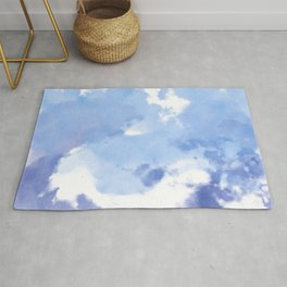 Blue and White Tie Dye Design Rug