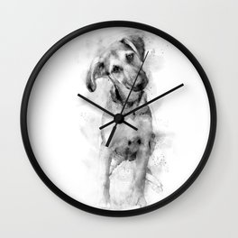 Puppy sitting with a curious air watercolor Wall Clock