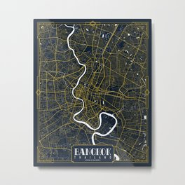 Bangkok, Thailand City Map - Gold Art Deco Metal Print