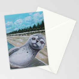 Sunbathing seal pup Stationery Cards