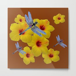 COFFEE BROWN BLUE DRAGONFLIES YELLOW HIBISCUS Metal Print