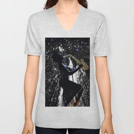 LADY JAZZ SAXOPHONE MUSIC AMONG THE STARS Unisex V-Neck