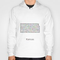 kansas Hoodies featuring Kansas map by David Zydd