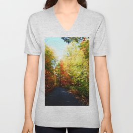 Into the Fall Forest Unisex V-Neck