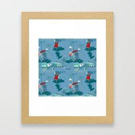 Rainy Day Umbrella and Irish Bridge Blue Vintage Romantic Art Framed Art Print