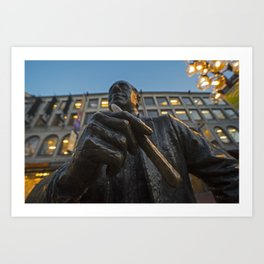 Red Auerbach Chilling at Fanueil Hall Art Print