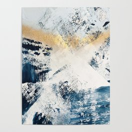 Sunset [1]: a bright, colorful abstract piece in blue, gold, and white by Alyssa Hamilton Art Poster