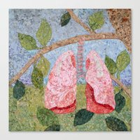 biology Canvas Prints featuring Biology: Lungs by Textility