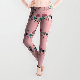 Mid century flowers pink Leggings