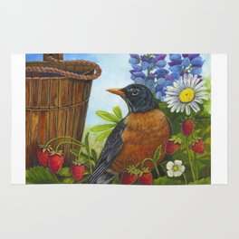 Robin and Old Wooden Bucket Rug