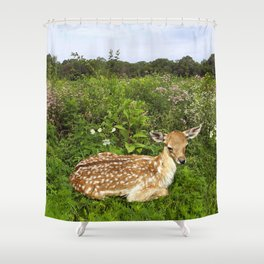 Fawn and Wildflowers Shower Curtain