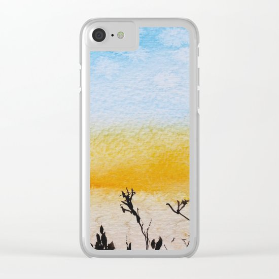 Summer sunrise in watercolor Clear iPhone Case