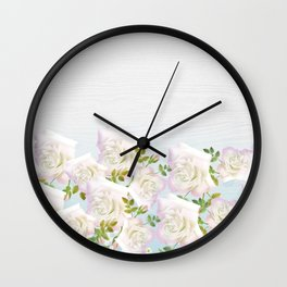 Rustic White Wood Pink Green Abstract Flowers Wall Clock