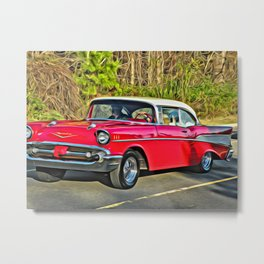 Sunday Drive in the '55 - digital paint Metal Print