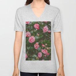 Pink Camellias Unisex V-Neck