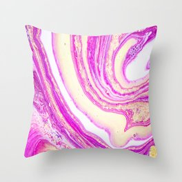 Marble pink and gold Throw Pillow
