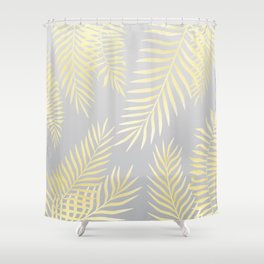 Gold palm leaves on grey Shower Curtain