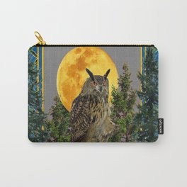 WILDERNESS OWL WITH FULL MOON PINE TREES Carry-All Pouch