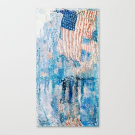 The Avenue in the Rain Painting by Childe Hassam Canvas Print