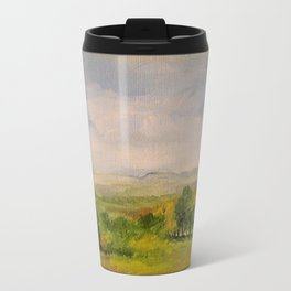 Scenic Autumn Late Afternoon in Vermont Nature Art Landscape Oil Painting Travel Mug