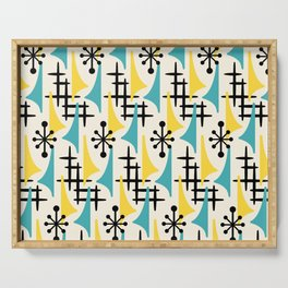Mid Century Modern Atomic Wing Composition Turquoise & Yellow Serving Tray