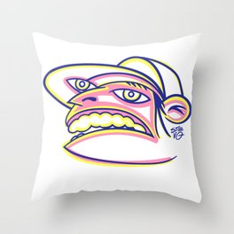 Skateboard Kid with Big Mouth and Crazy Eyes, Wearing Trucker Hat Throw Pillow