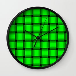 Large Neon Green Weave Wall Clock