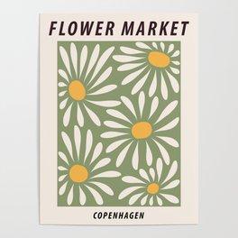 Flower market poster, Copenhagen, Posters aesthetic, Flower art, Chamomile, Daisy art print, Floral art Poster