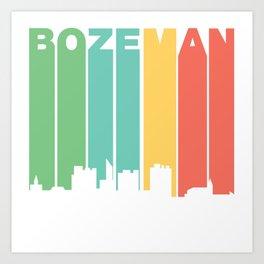 Retro 1970's Style Bozeman Montana Skyline Art Print