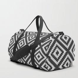 Stair Step Diamond Geometric Tribal in Black and White Duffle Bag
