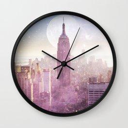 I LOVE PINK NEW YORK CITY SKYLINE - Full Moon Universe Wall Clock