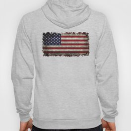 American Flag, Old Glory in dark worn grunge Hoody
