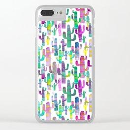 Watercolor Cacti - Pinks - Saguaros Clear iPhone Case