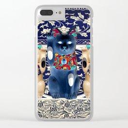 Maneki Neko (Lucky Cat) Trio II Clear iPhone Case