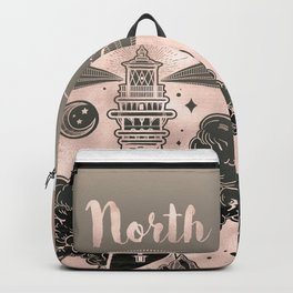Lighthouse Compass Ocean Sunset Rose Gold Backpack