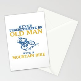 OLD MAN WITH A MOUNTAIN BIKE Stationery Cards