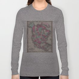 Vintage Map of North America (1864) Long Sleeve T-shirt